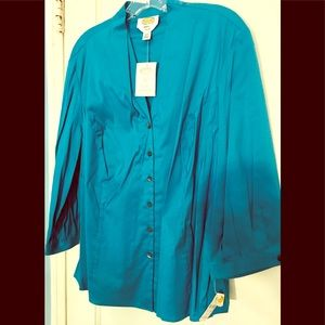 NWT Talbot's Woman 16W Stretch Button Down Blouse